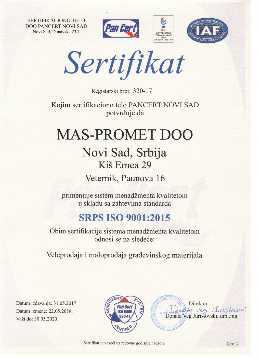 Sertifikat ISO 9001 - 2015